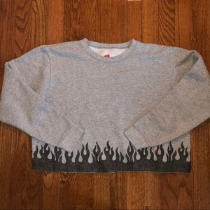 Vintage Cropped Flame Sweatshirt